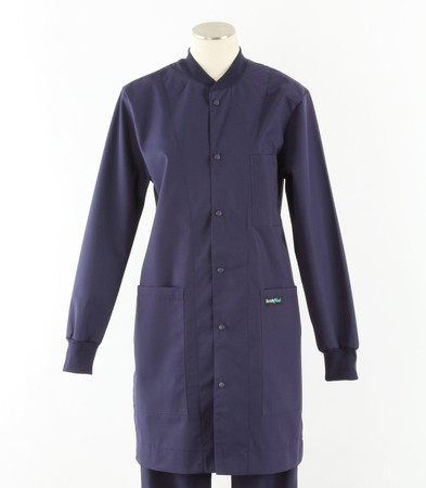 scrub med womens navy crew neck lab coat