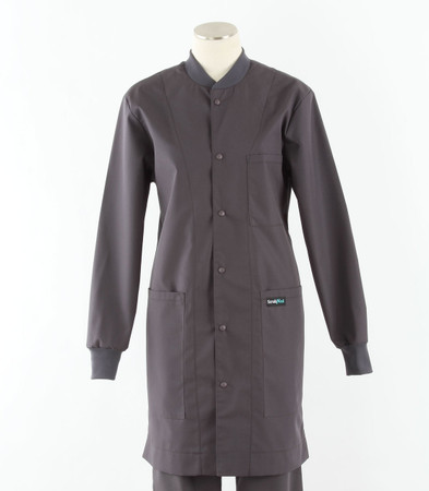 scrub med womens charcoal crew neck lab coat
