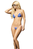 Shop this women's sexy blue hibiscus and pink trim string bikini with thong back