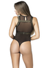Shop this women's sexy black sheer mesh bodysuit with gold harness accessory for rave and festival wear