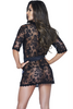 Shop this women's black lace eyelash robe lingerie with black satin waist sash and detail