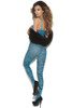Shop this women's sexy blue body stocking with zebra stripes and full body stocking style