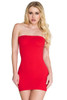 Shop this women's red opaque body stocking dress with red strapless mini dress