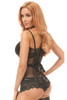 Shop this women's premium fishnet corset lingerie with faux leather accents and lace up back