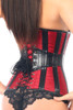 Shop this sexy red and black leather corset that features a lace up back
