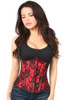 Shop this underbust corset with red lining and lace overlay
