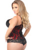 Shop the best corsets online featuring this plus size underbust corset that features red and black lace