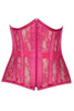 Shop this pink fuchsia lacy corset with sheer lace underbust corset