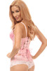 Shop the best corset at Discount Stripper.com featuring beautifully crafted light pink steel boned underbust corset with lace up cincher