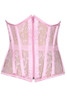 Shop this pink underbust corset with sheer mesh detail