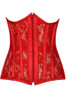 Shop this red underbust corset with sheer mesh detail