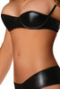 Shop this black faux leather shelf bra with panty