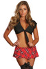 Shop this red plaid naughty schoolgirl outfit with red plaid mini skirt and black crop top