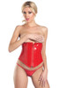 Shop this red vinyl waist cincher with front zipper and lace up back for cinching
