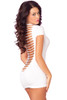 Shop sexy white mini dress with plunging neckline and shredded open back with back image