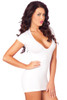 Shop sexy white mini dress with plunging neckline and shredded open back with back imaage