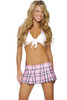 Shop women's 2 Piece Sexy Pink School Girl costume. Includes White Crop Halter Tie Top & Pink Plaid Pleated Skirt