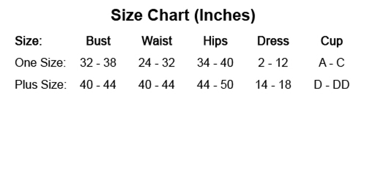 Elegant Moments size chart by Discount Stripper