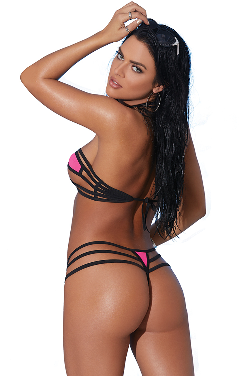 Shop this women's sexy micro bikini featuring a g string bikini with multi strap b string bottoms and bandeau strappy top