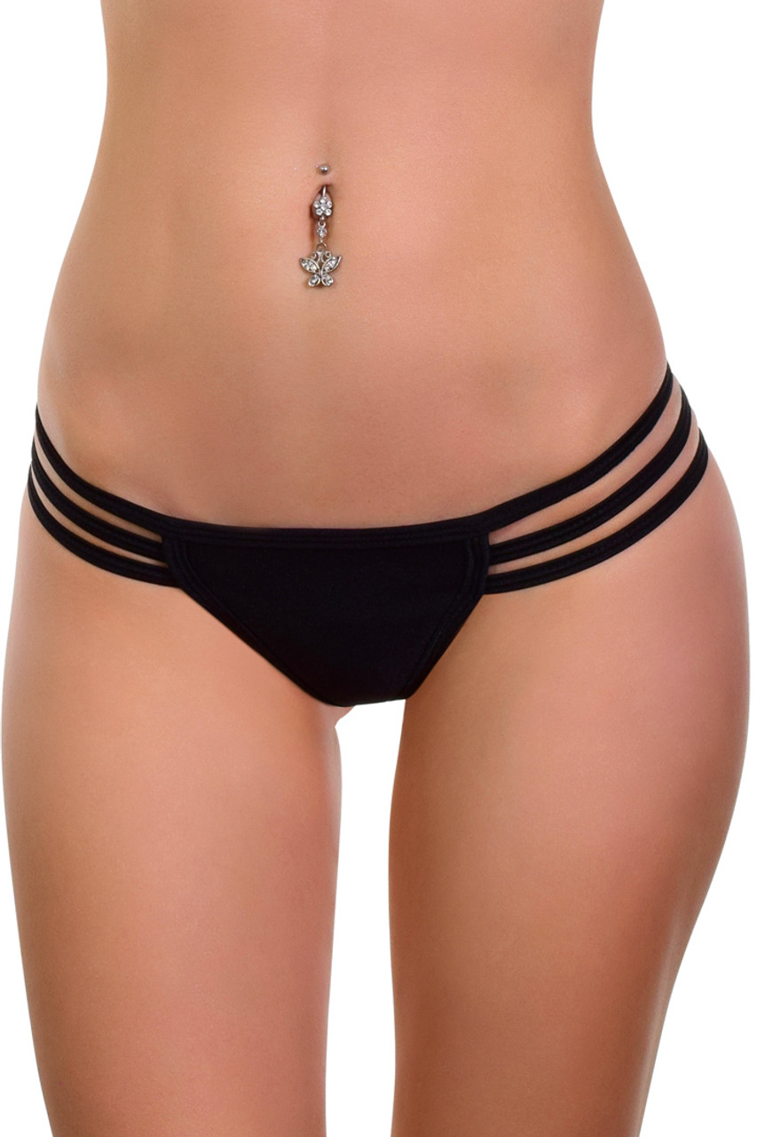 Shop this black micro thong bikini with triple strap sides
