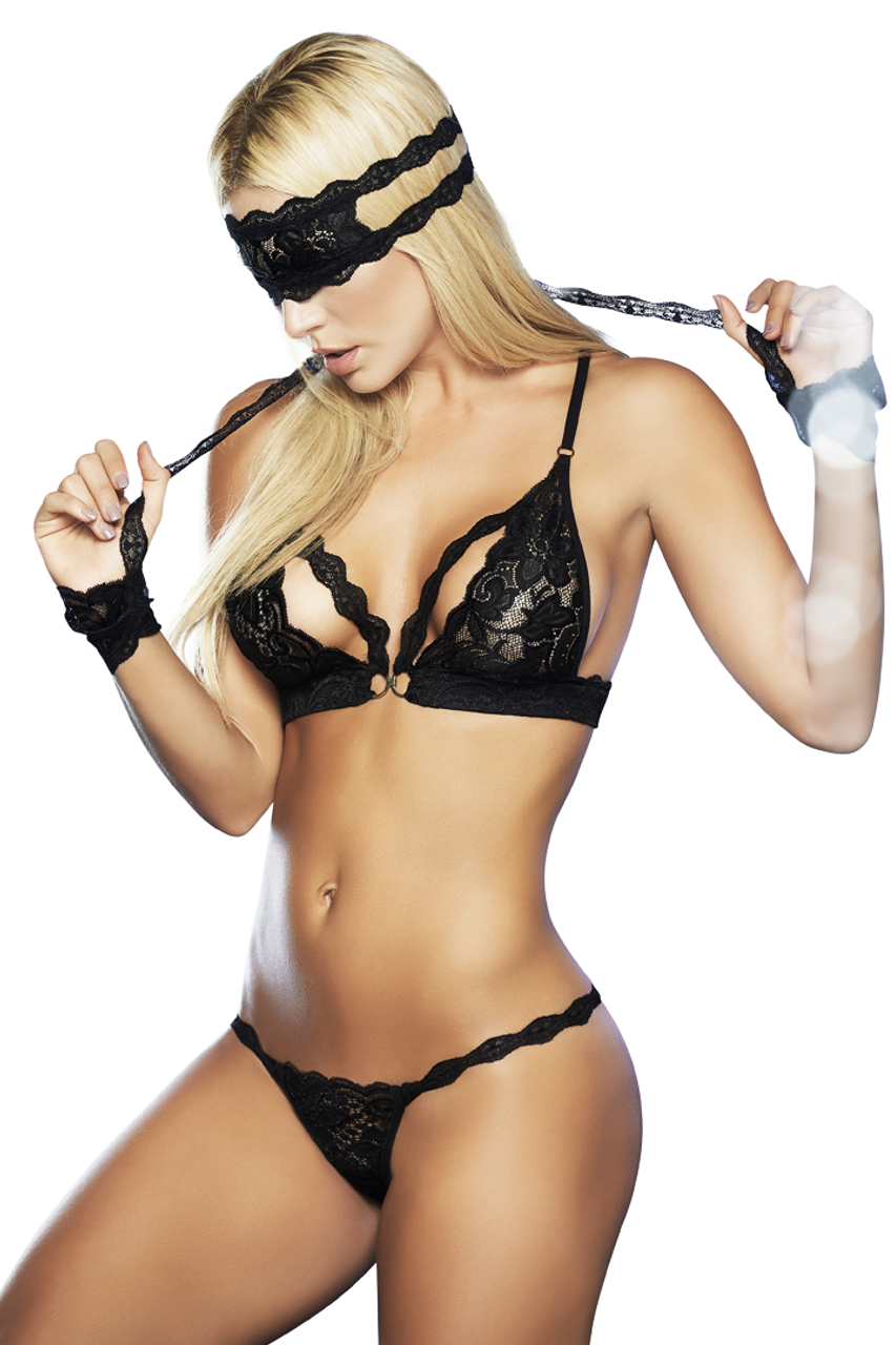 Shop this women's sexy black lace light bondage lingerie set with handcuffs, eye mask, bralette and lace thong