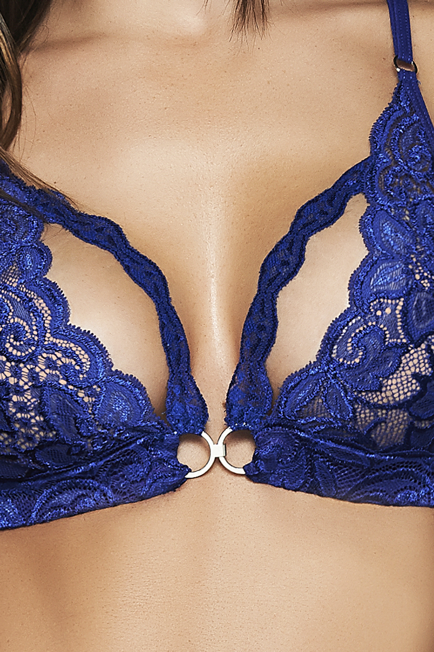 Shop this women's sexy royal blue lace light bondage lingerie set with handcuffs, eye mask, bralette and lace thong