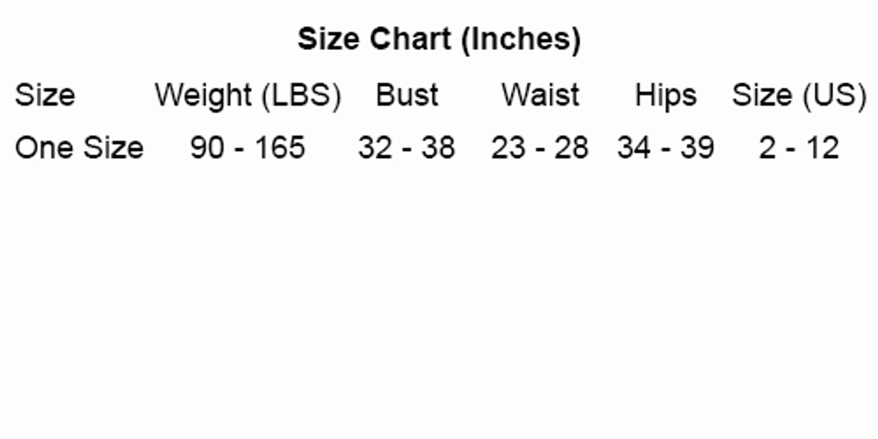 Music Legs size chart by Discount Stripper