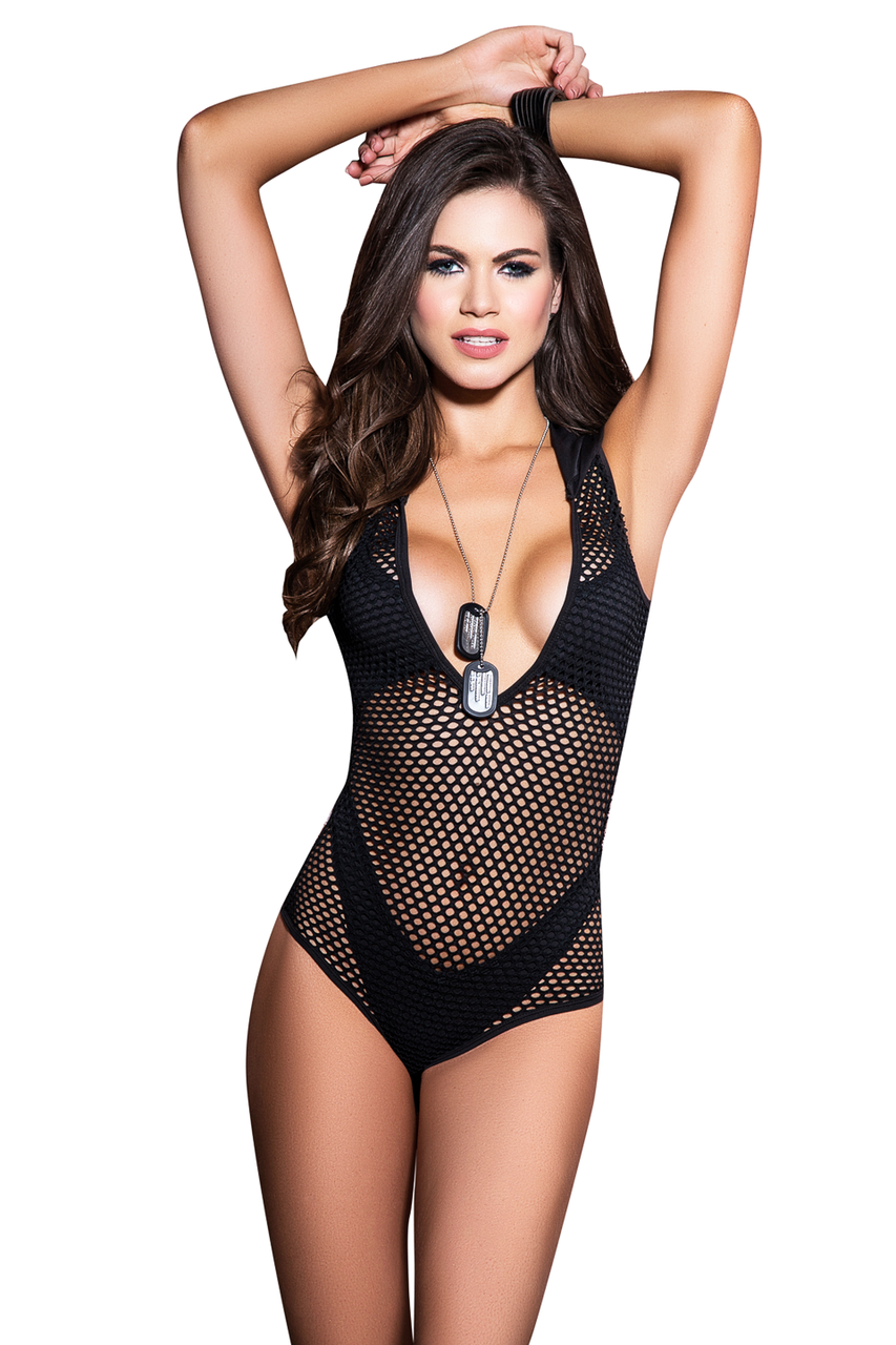 Shop this women's black fishnet bodysuit witch attached hoodie and high cut thong panty