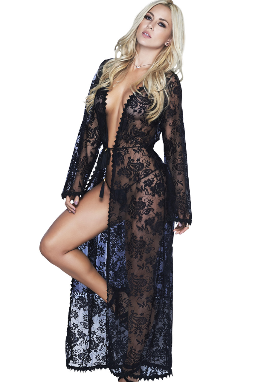 Shop this women's lingerie gown that features a sheer black floral lace robe with matching g string panty