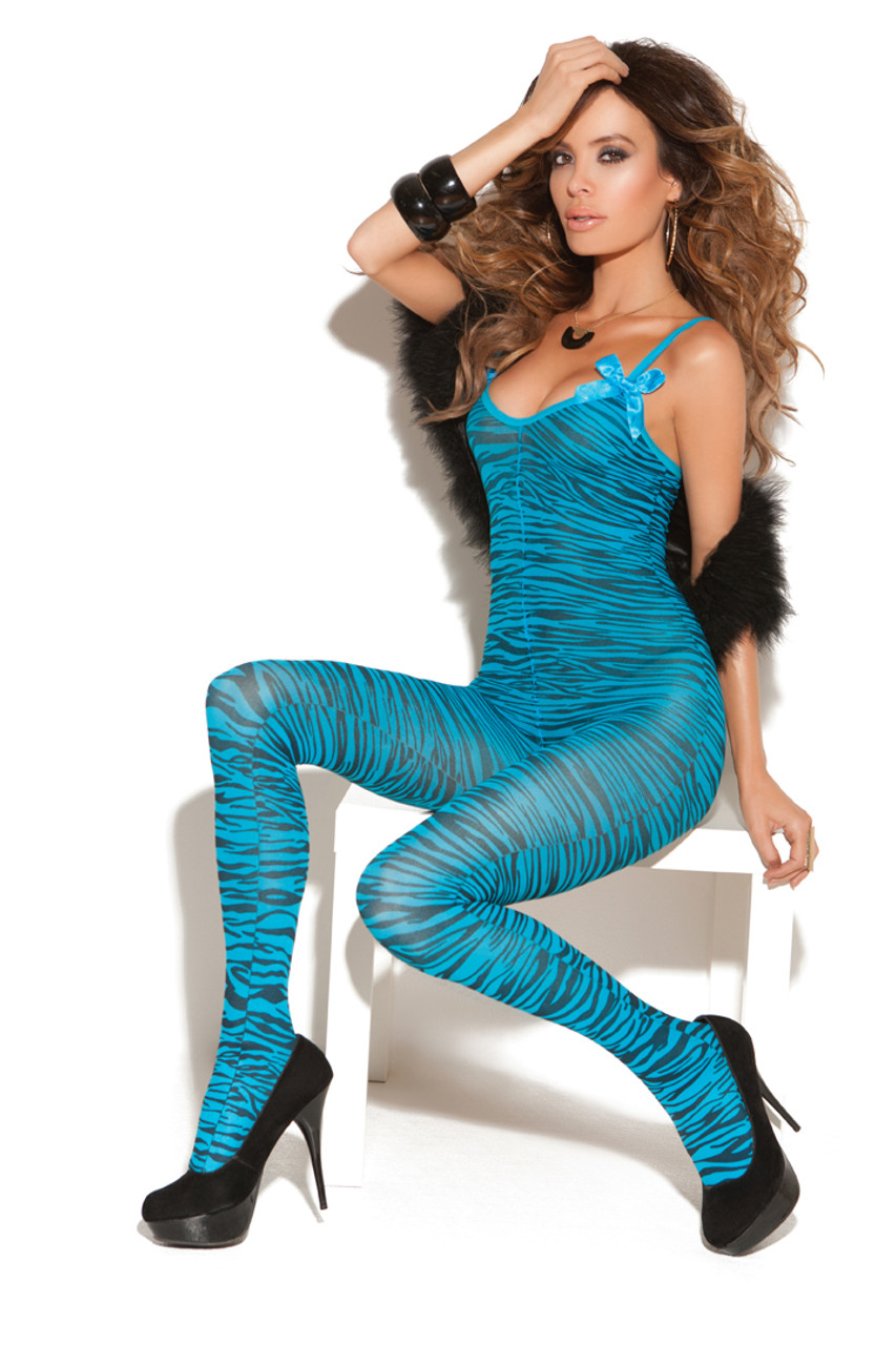Shop this women's blue body stocking lingerie with zebra stripes