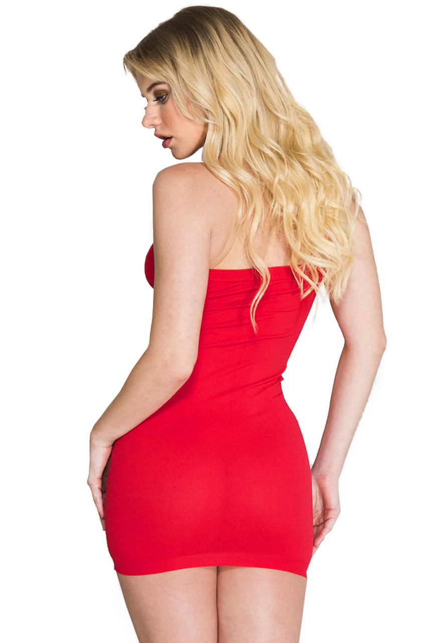 Shop this women's sexy red strapless dress that features a body stocking material
