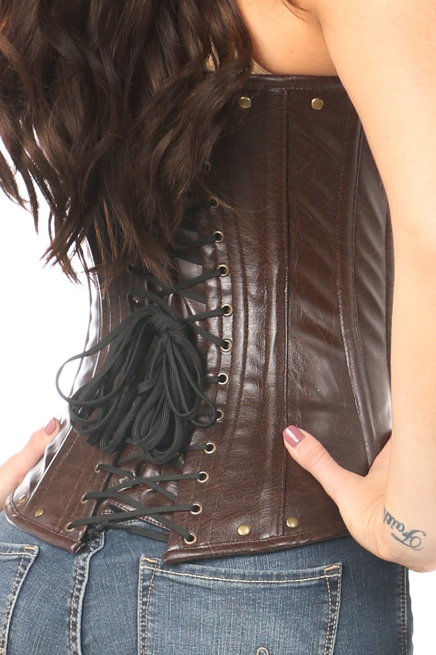 shop this plus size underbust corset with leather and lace up detail