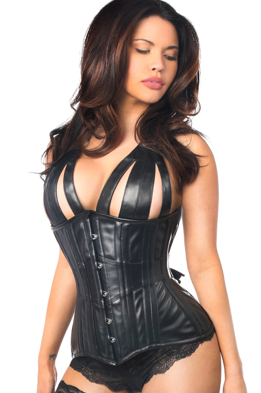 Shop this bdsm corset that features a faux leather corset with open cups