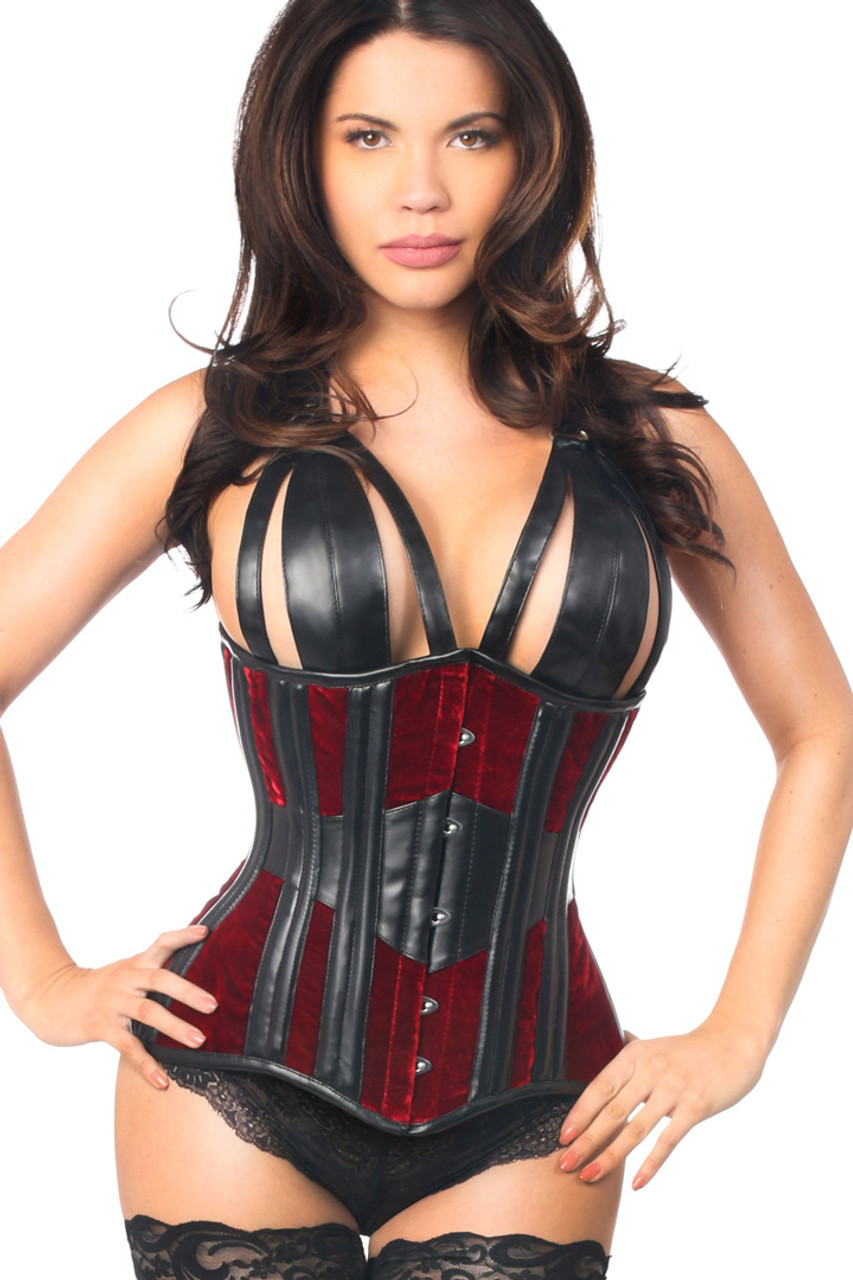 Shop this bdsm corset that features deep red velvet with open cups and faux leather