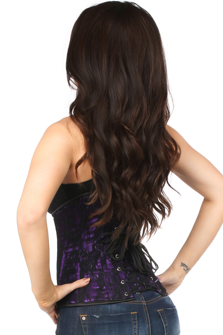 Shop this steel boned underbust corset with purple and black lace