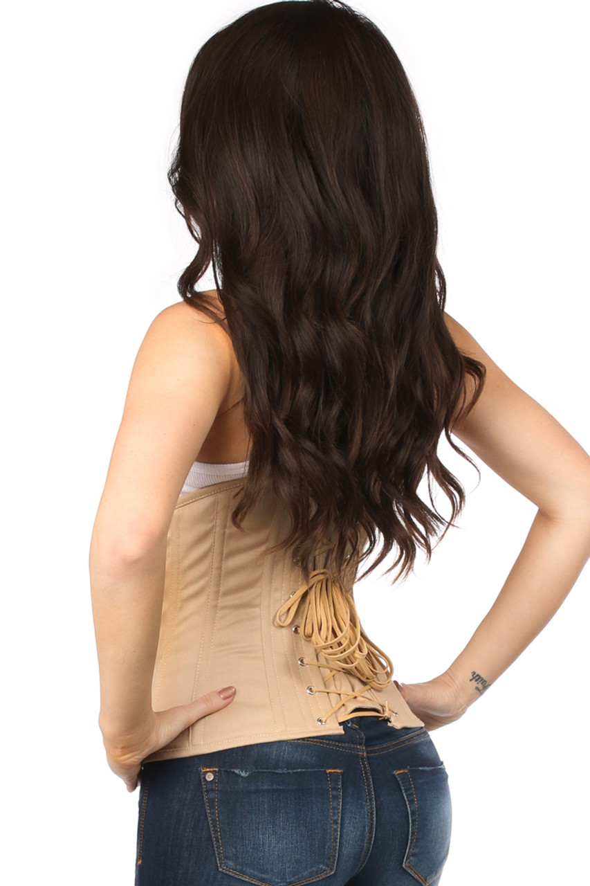 Shop this beige corset lingerie that features a cotton corset beige with lace up back and underbust