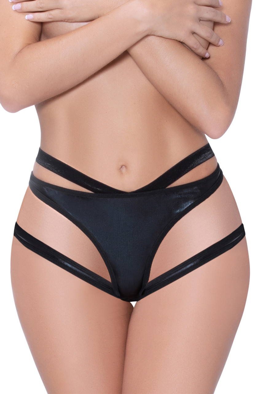 Shop this Lamé panty with metallic glossy sheen and cutout details