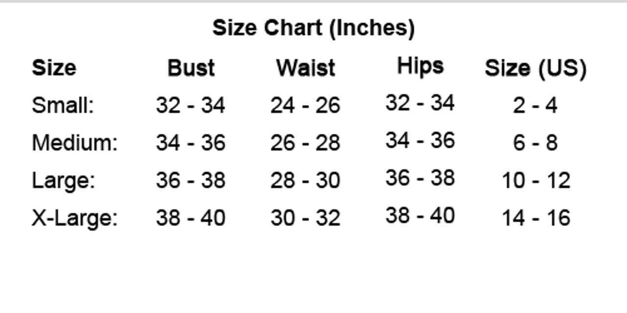 Mapale size chart by Discount Stripper