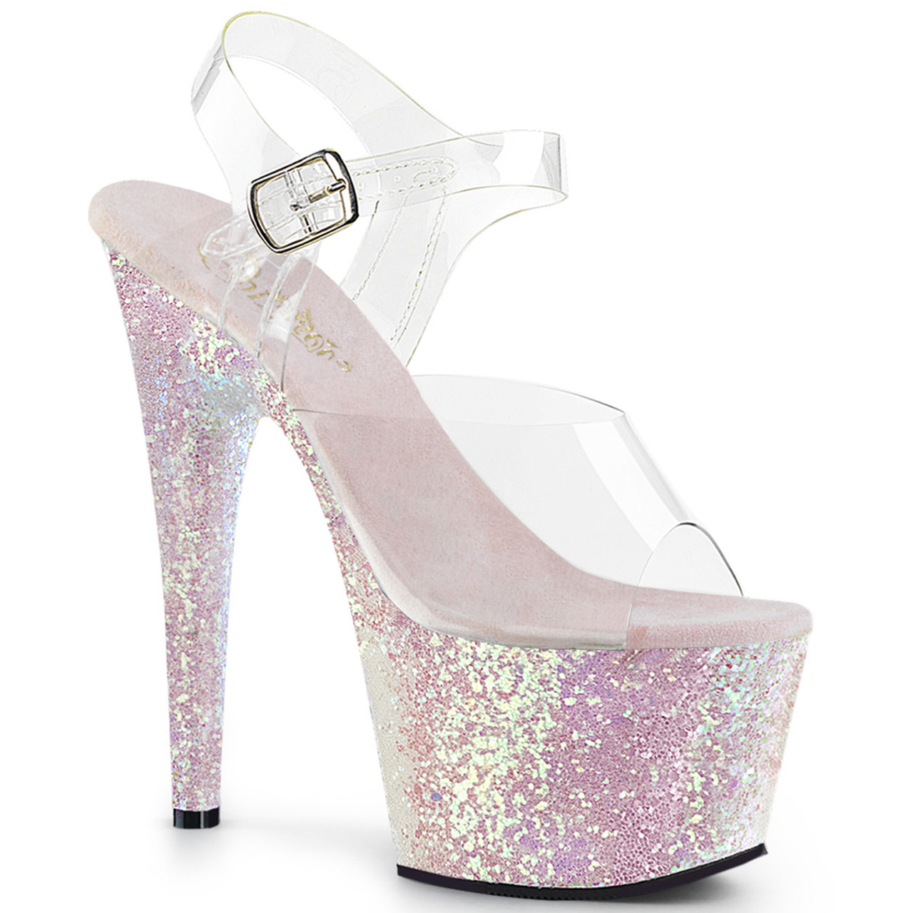 """Sexy clear/opal glitter ankle strap pole dancing high heels with 7"""" stiletto heel."""