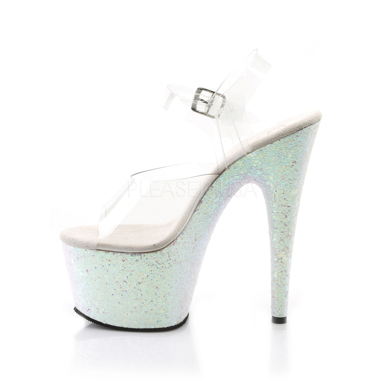 """Pleaser Shoes -Sexy clear/Opal 7 inch heel pole dancing high heels with ankle strap 2.8"""" platform."""