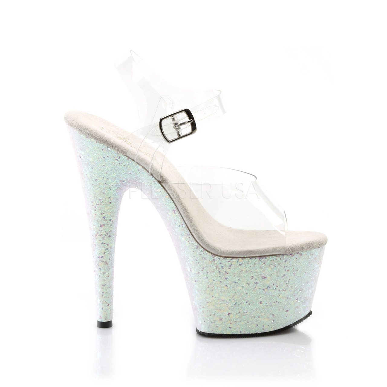 """Women's sexy clear/opal pole dancing high heels with ankle strap, 7 inch stiletto heel, and 2.8"""" tall platform - Pleaser Shoes"""