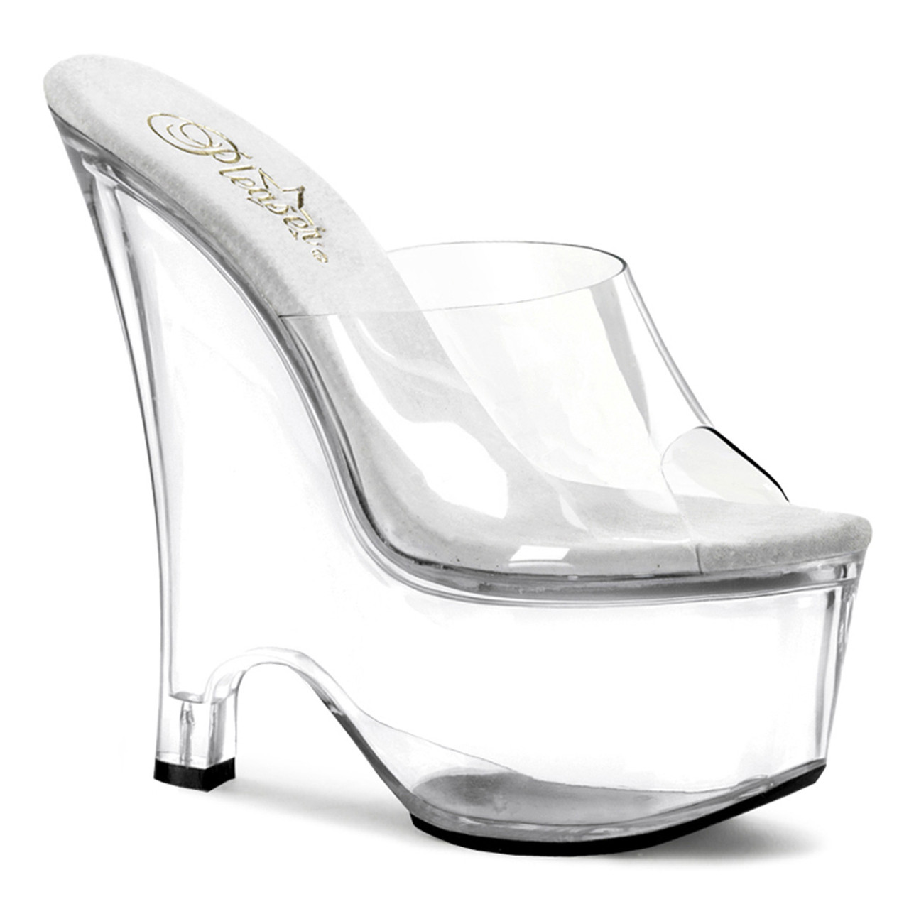 """Women's sexy clear stripper pumps with 6.5"""" high heel."""