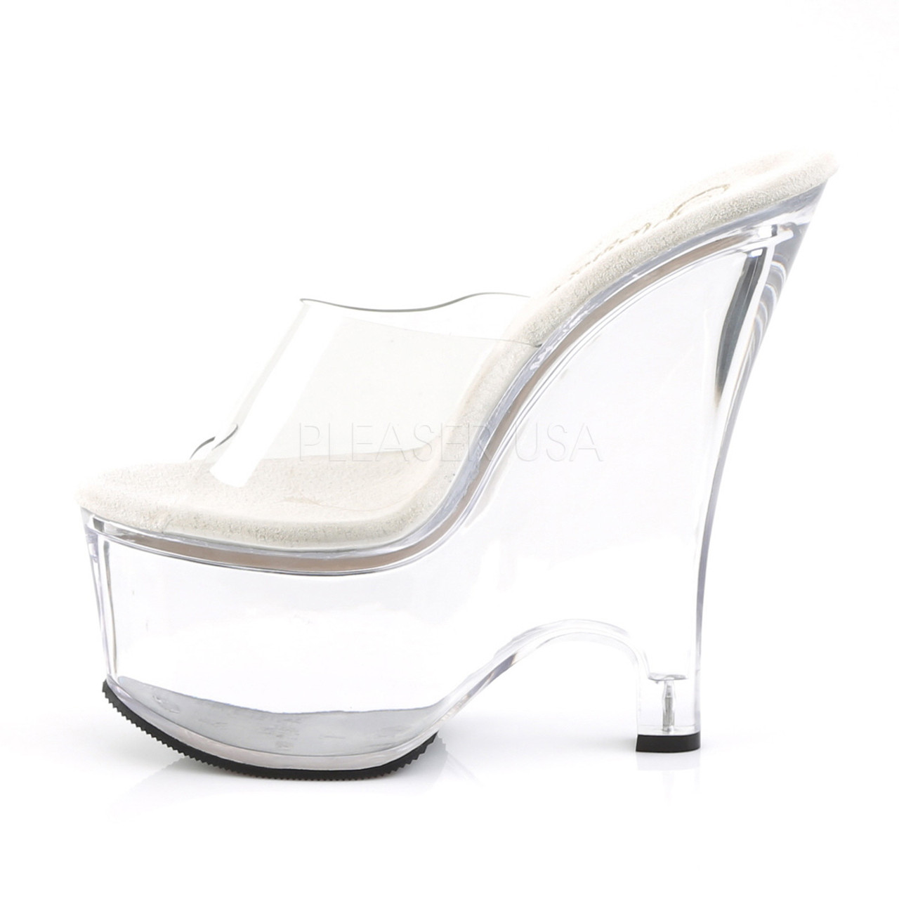 """Pleaser Shoes - Women's sexy clear 6.5 inch heel stripper pumps with 2.8"""" platform."""