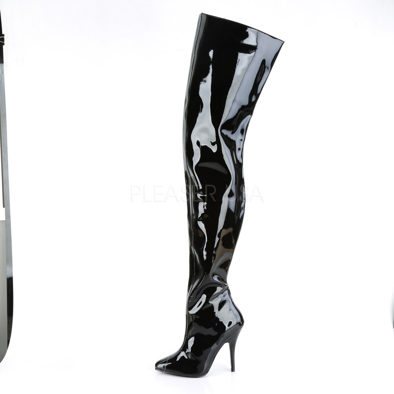Pleaser Shoes - wide top crotch 5 inch black thigh high boots