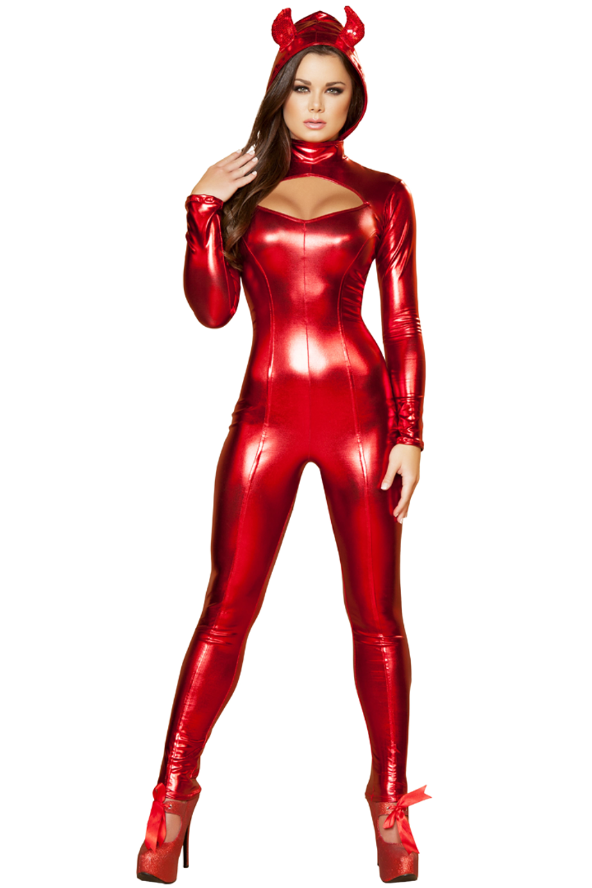 Shop this women's sexy red devil catsuit costume for Halloween
