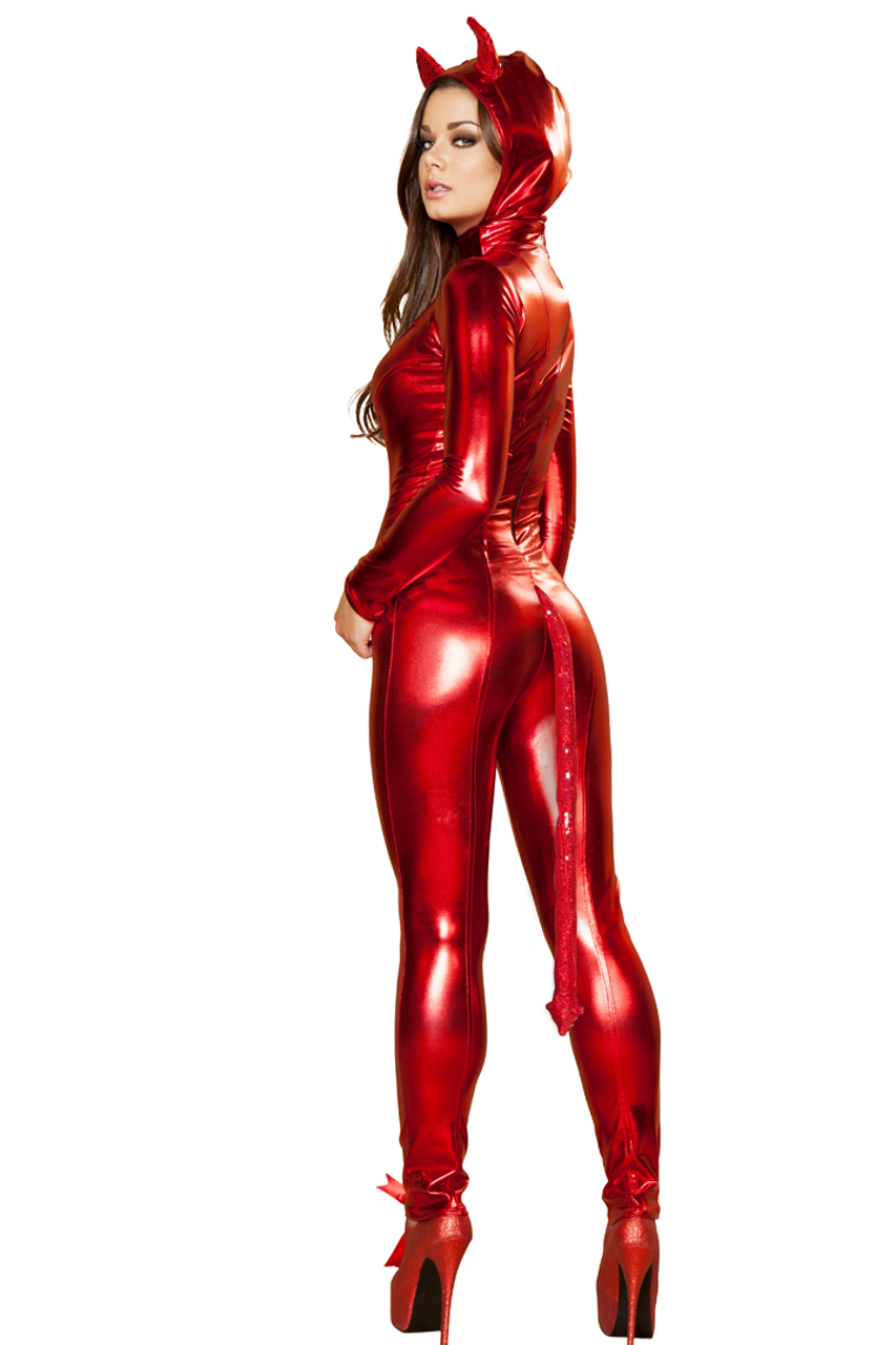 Shop this women's sexy red devil catsuit costume for Halloween featuring an attached hood
