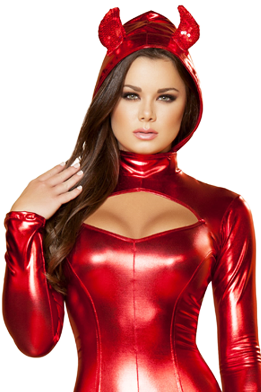 Shop this women's sexy red devil catsuit costume for Halloween featuring an attached hood with horns