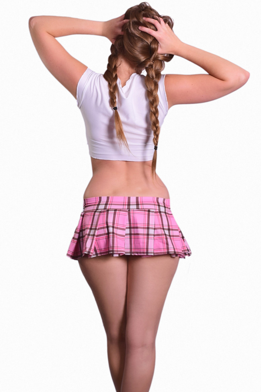 Shop this women's sexy naughty school girl costume with pink plaid mini skirt