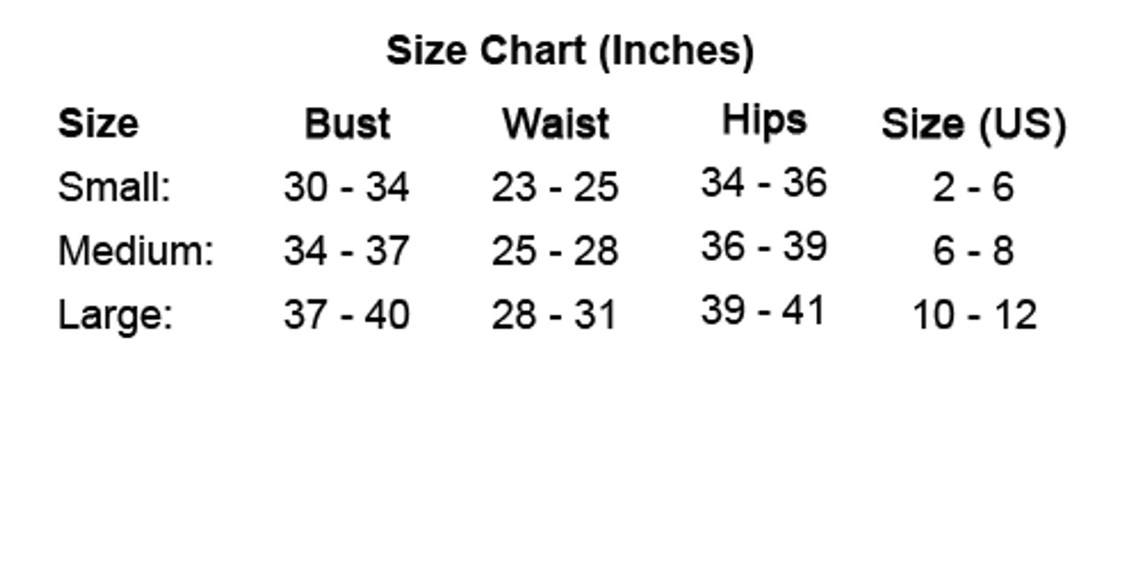 Roma Costume Size Chart by Discount Stripper
