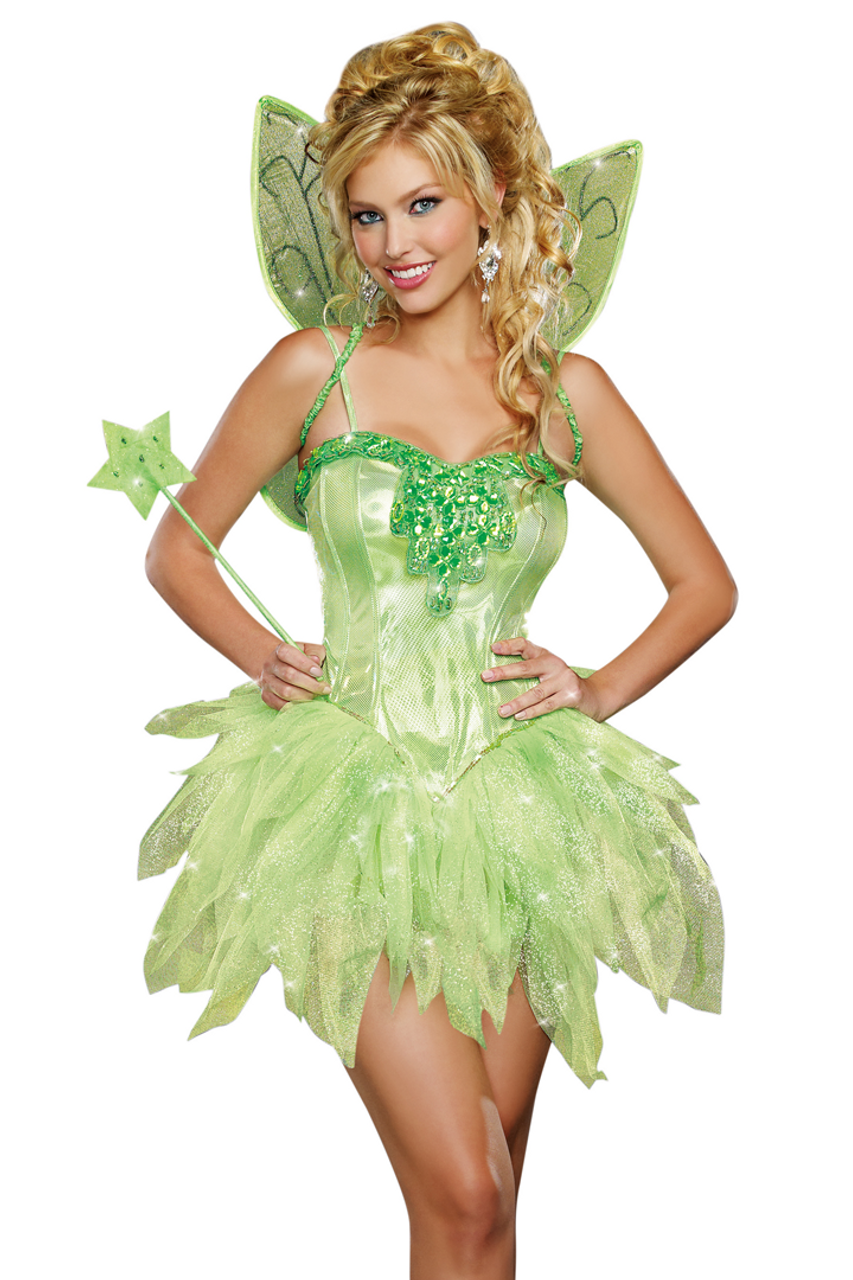 Shop this women's sexy Tinkerbell costume featuring a glitter green sparkle tutu with corset dress